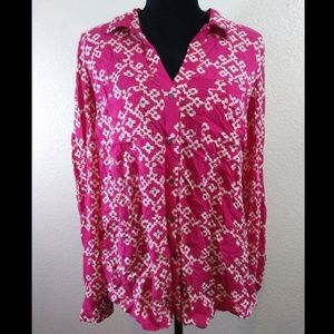 Anthropologie Maeve Pink White Rayon Blouse 12